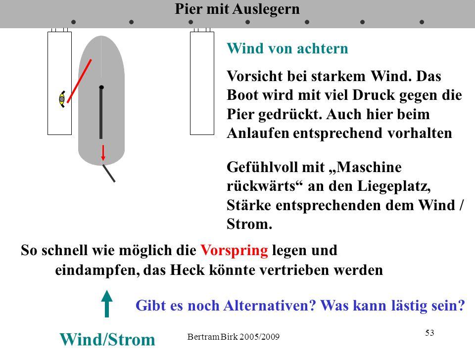 Bertram Birk 2005/2009 53 Pier mit Auslegern Wind von achtern Vorsicht bei starkem Wind. Das Boot wird mit viel Druck gegen die Pier gedrückt. Auch hi
