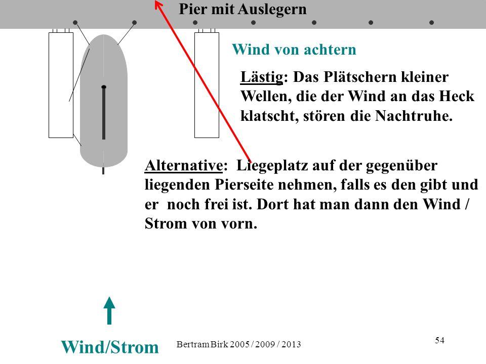 Bertram Birk 2005 / 2009 / 2013 54 Pier mit Auslegern Wind von achtern Wind/Strom Lästig: Das Plätschern kleiner Wellen, die der Wind an das Heck klat