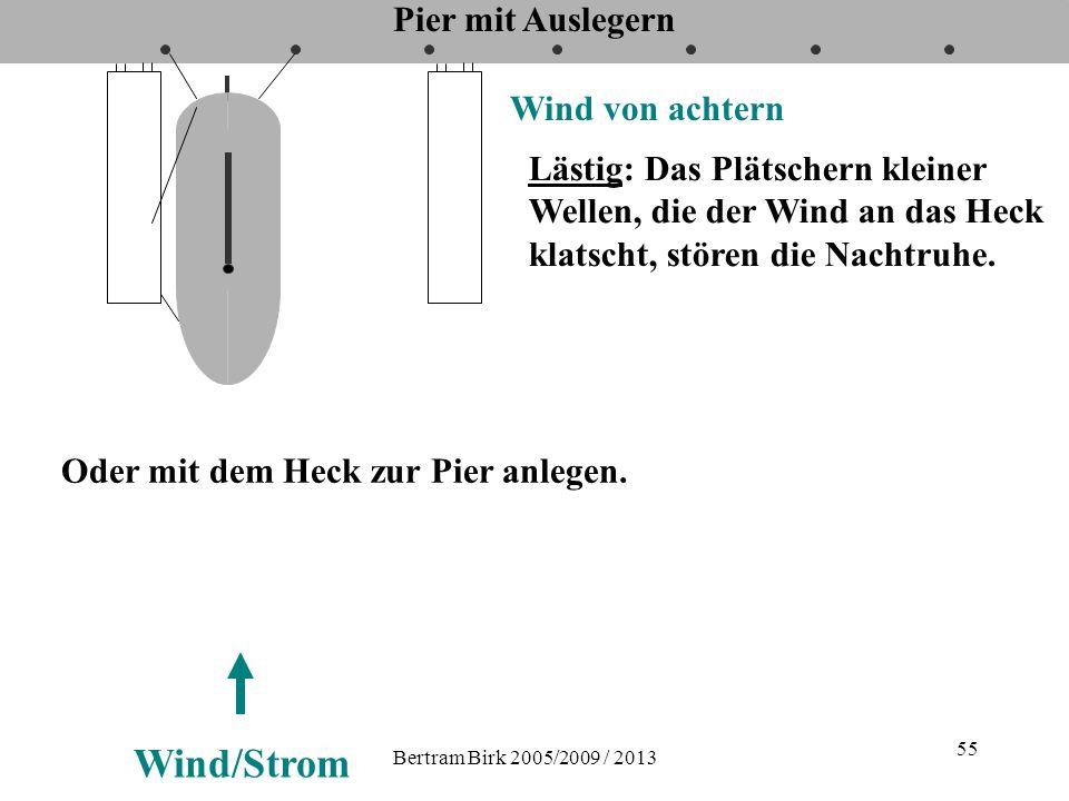 Bertram Birk 2005/2009 / 2013 55 Pier mit Auslegern Wind von achtern Wind/Strom Lästig: Das Plätschern kleiner Wellen, die der Wind an das Heck klatsc