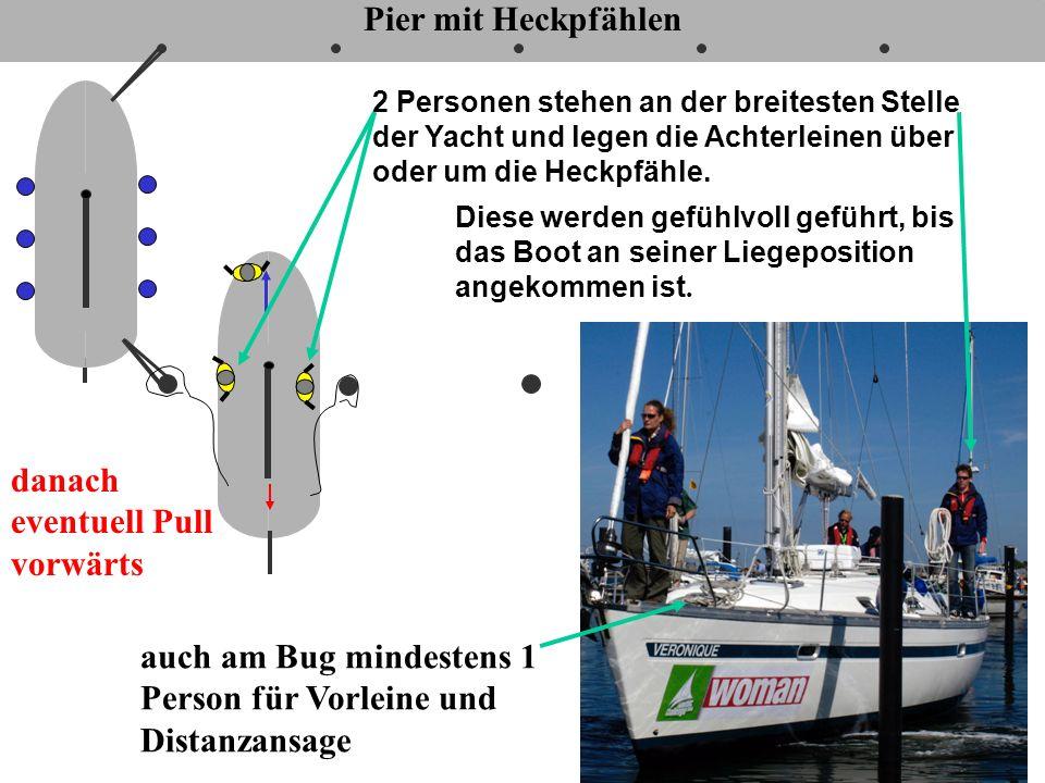 7 Pier mit Heckpfählen danach eventuell Pull vorwärts Photo: Charterzentrum Heiligenhafen auch am Bug mindestens 1 Person für Vorleine und Distanzansa