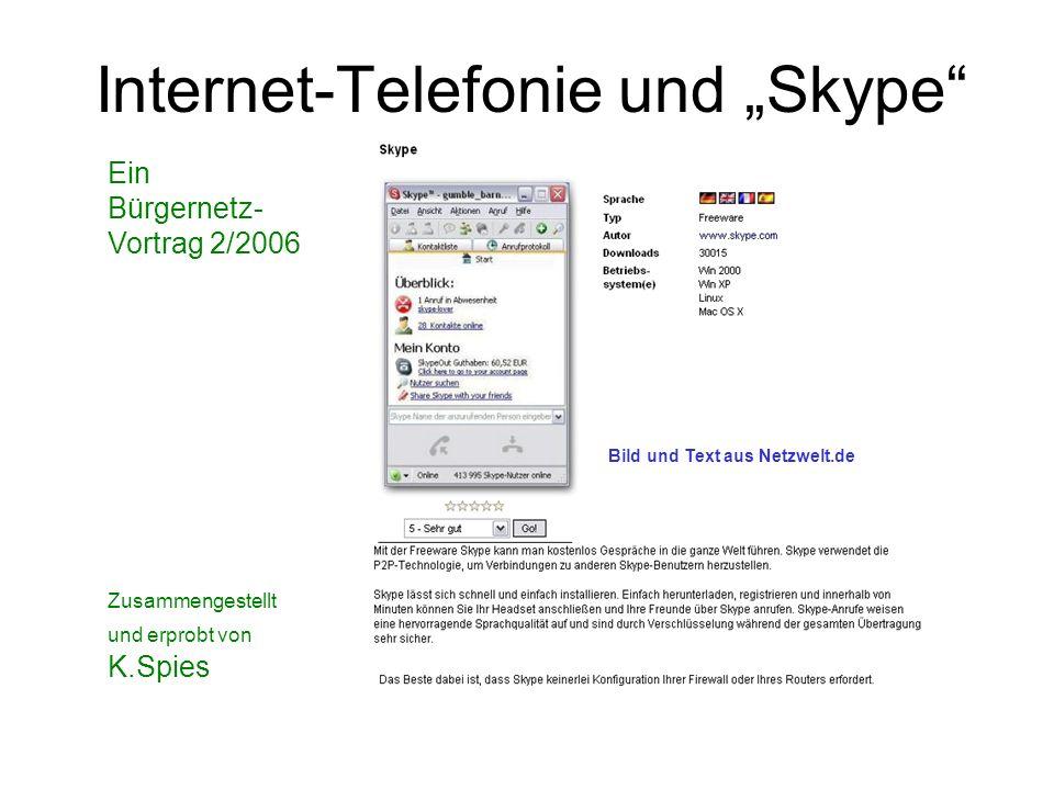Internet-Telefonie und Skype Ein Bürgernetz- Vortrag 2/2006 Zusammengestellt und erprobt von K.Spies Bild und Text aus Netzwelt.de