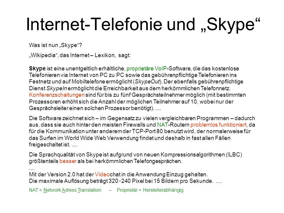 Internet-Telefonie und Skype Was ist nun Skype? Wikipedia, das Internet – Lexikon, sagt: Skype ist eine unentgeltlich erhältliche, proprietäre VoIP-So