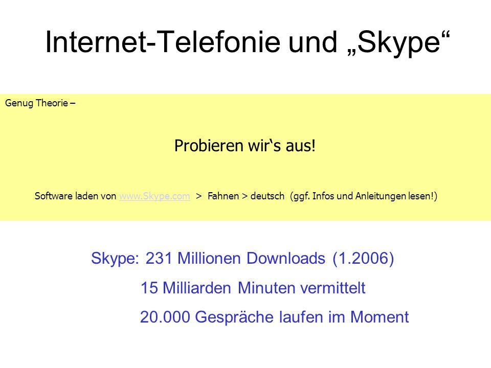 Internet-Telefonie und Skype Genug Theorie – Probieren wirs aus! Software laden von www.Skype.com > Fahnen > deutsch (ggf. Infos und Anleitungen lesen