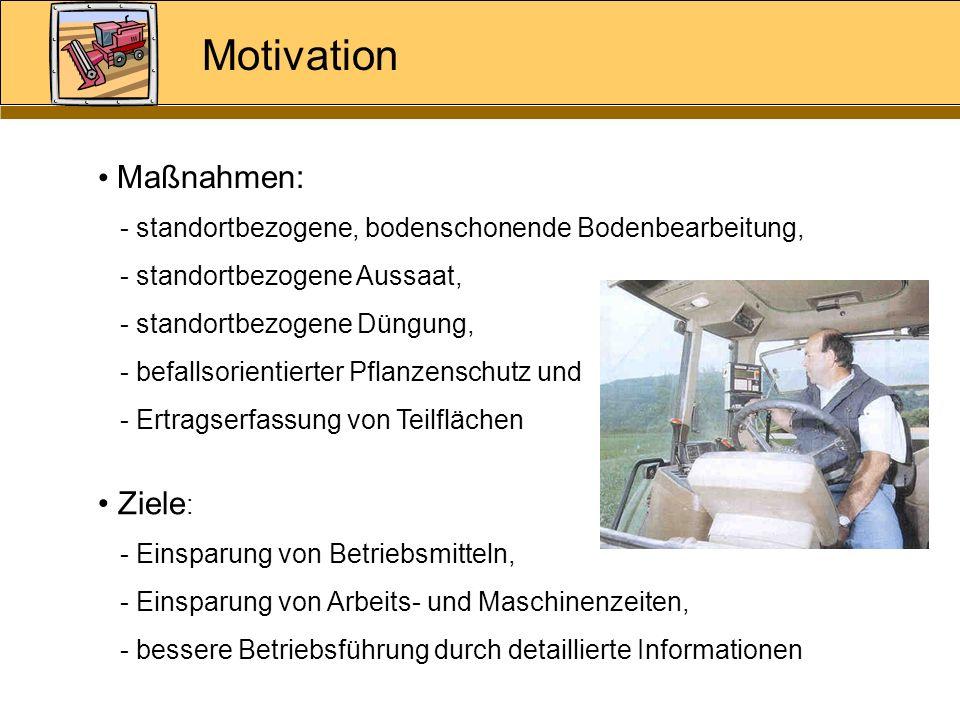 Motivation Maßnahmen: - standortbezogene, bodenschonende Bodenbearbeitung, - standortbezogene Aussaat, - standortbezogene Düngung, - befallsorientiert