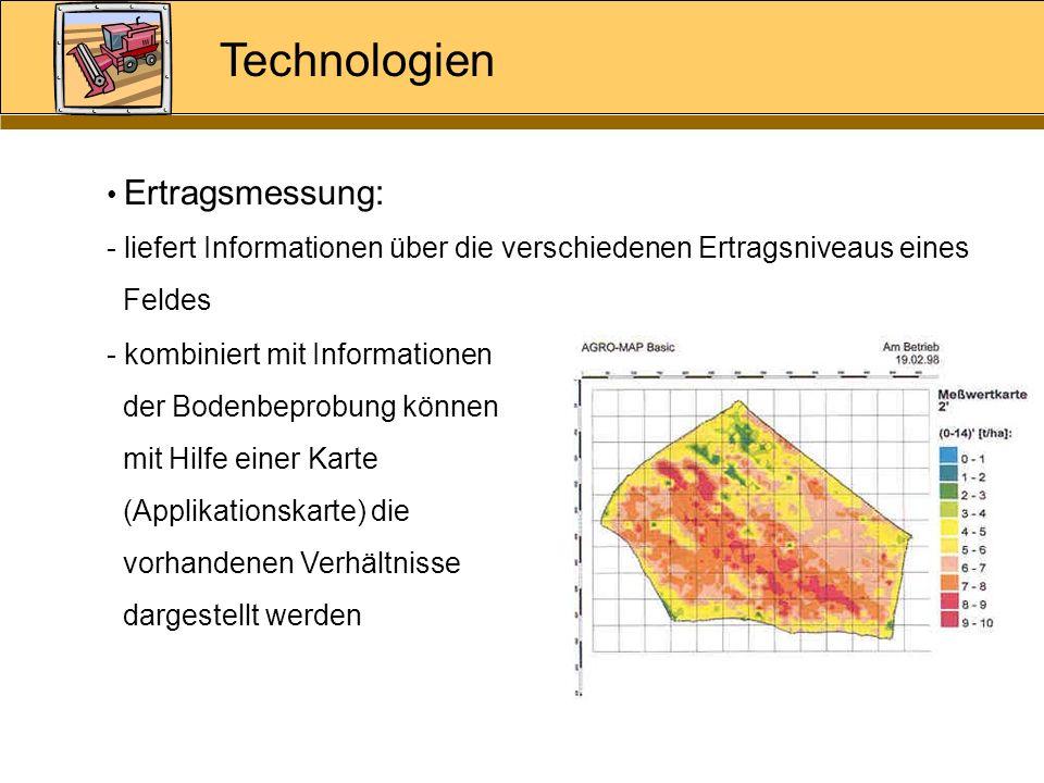 Technologien Ertragsmessung: - liefert Informationen über die verschiedenen Ertragsniveaus eines Feldes - kombiniert mit Informationen der Bodenbeprob