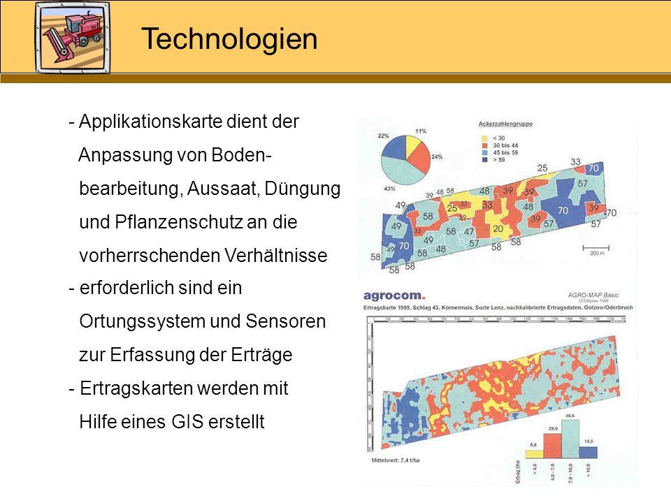 Technologien - Applikationskarte dient der Anpassung von Boden- bearbeitung, Aussaat, Düngung und Pflanzenschutz an die vorherrschenden Verhältnisse -