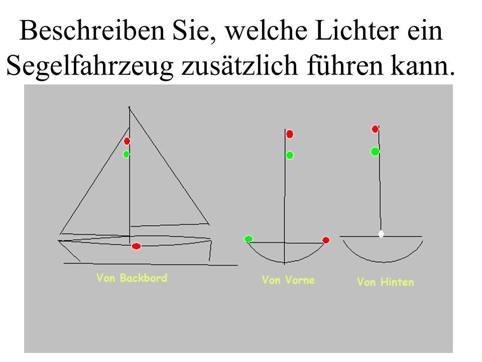 Beschreiben Sie, welche Lichter ein Maschinenfahrzeug mit FdW und Gefahrgut führen muss. Hier über 50 m Welches Tagzeichen müsste es führen?