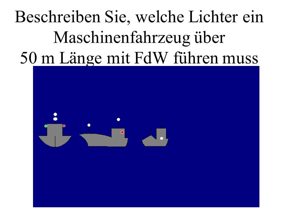 Beschreiben Sie, welche Lichter ein Fischer (unter 50m mit FdW) führen muss Welches Tagzeichen müsste es führen?