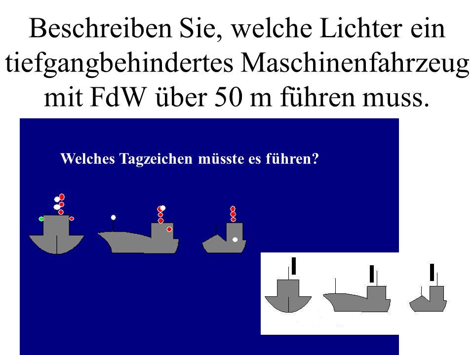 Beschreiben Sie, welche Lichter ein schleppendes Maschinenfahrzeug mit FdW über 200 m führen muss. Welches Tagzeichen müsste es führen?