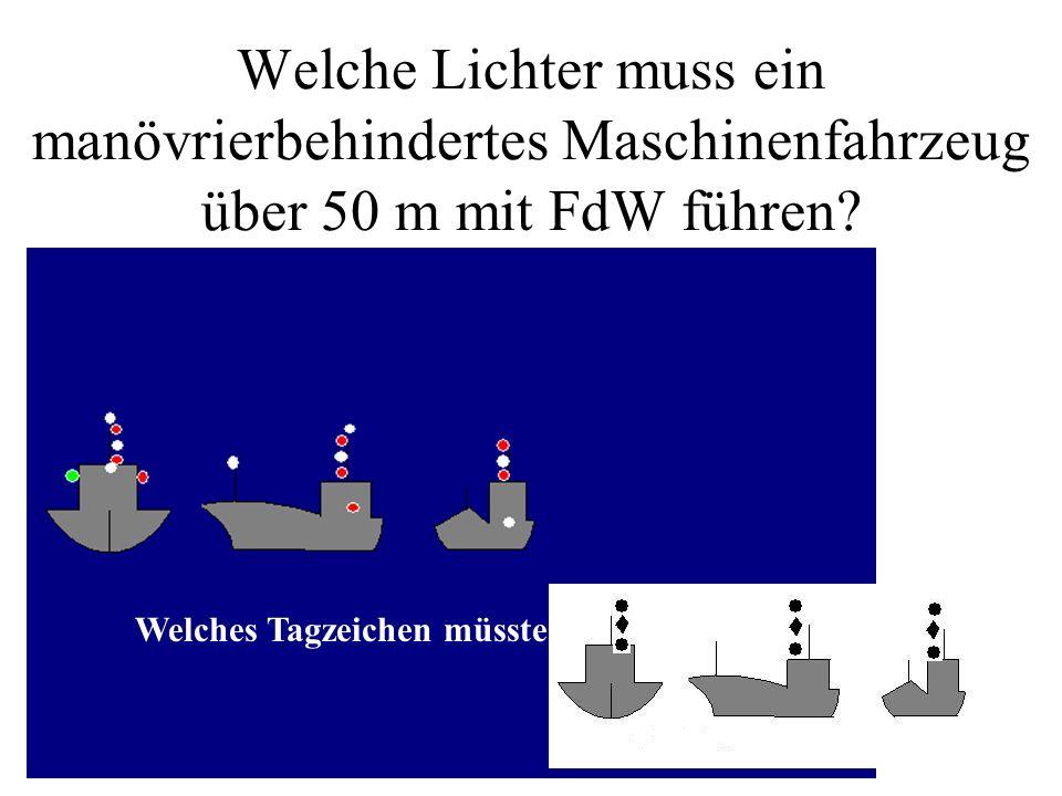 Beschreiben Sie, welche Lichter ein Segelfahrzeug bis 20 m führen kann bzw. muss. Drei Möglichkeiten !