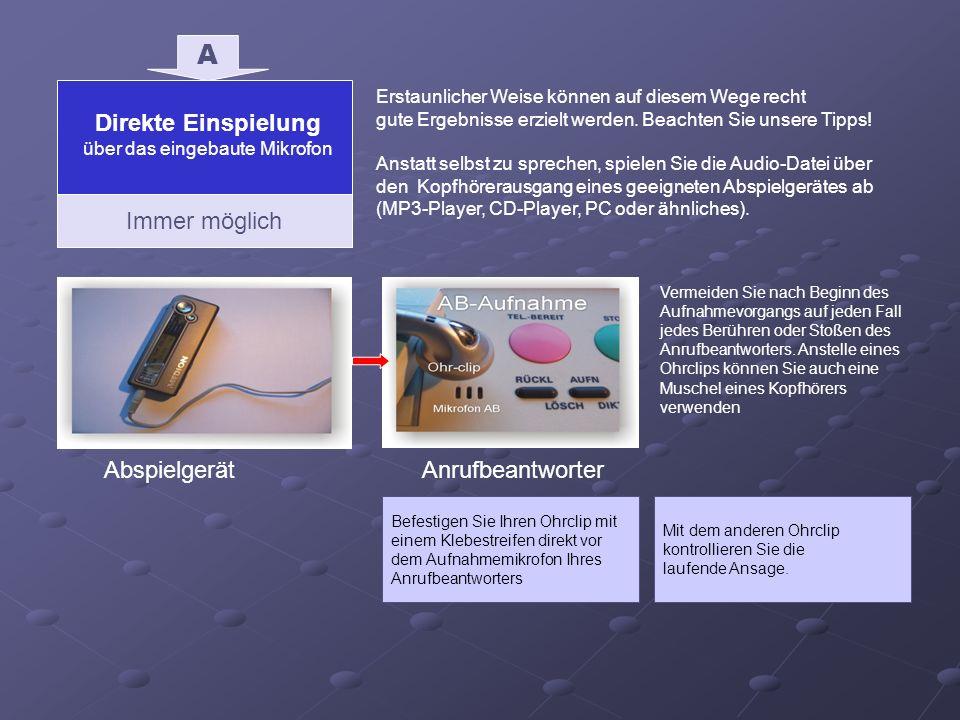 Direkte Einspielung über das eingebaute Mikrofon Immer möglich A AbspielgerätAnrufbeantworter Befestigen Sie Ihren Ohrclip mit einem Klebestreifen dir