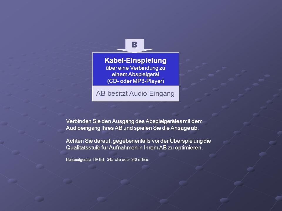 AB besitzt Audio-Eingang B Kabel-Einspielung über eine Verbindung zu einem Abspielgerät (CD- oder MP3-Player) Verbinden Sie den Ausgang des Abspielger