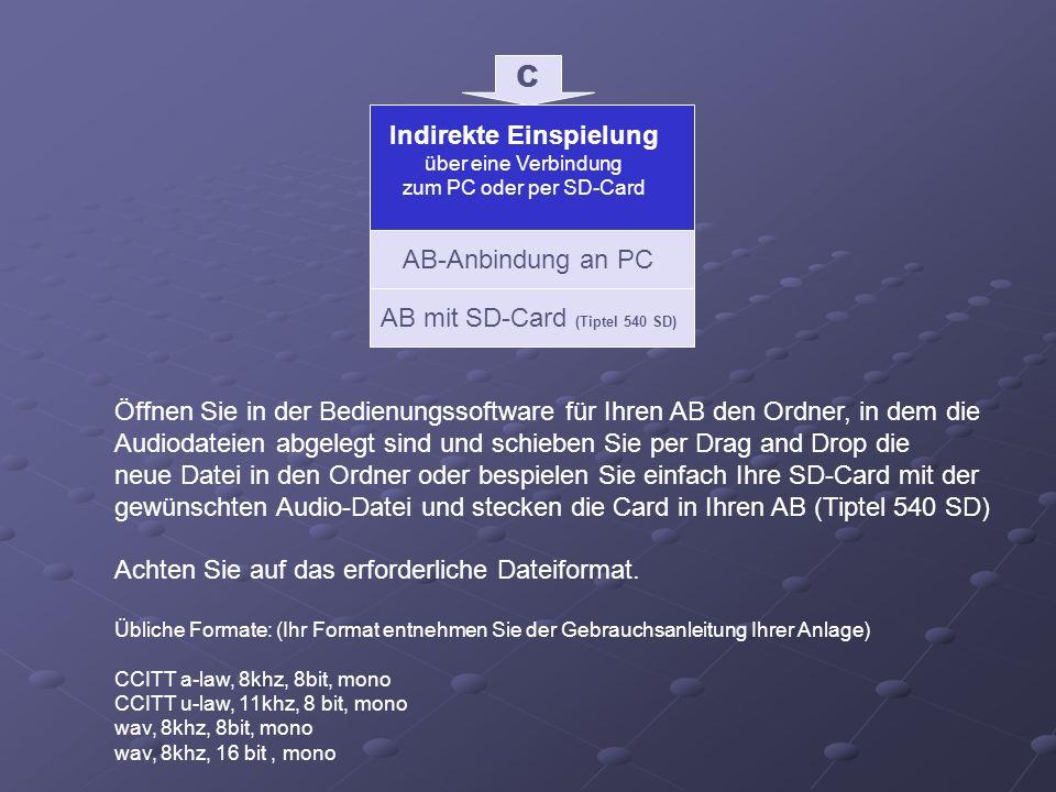 Indirekte Einspielung über eine Verbindung zum PC oder per SD-Card C AB-Anbindung an PC Öffnen Sie in der Bedienungssoftware für Ihren AB den Ordner,