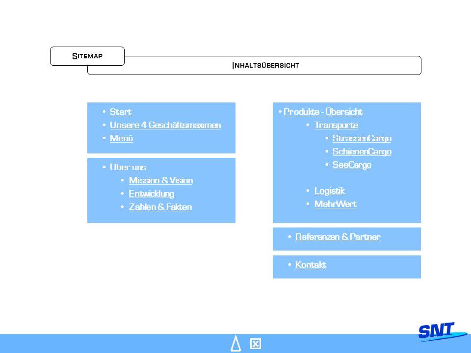 Start Unsere 4 Geschäftsmaximen Menü Über uns Mission & Vision Entwicklung Zahlen & Fakten Produkte - Übersicht Transporte StrassenCargo SchienenCargo SeeCargo Logistik MehrWert Referenzen & Partner Kontakt Inhaltsübersicht Sitemap