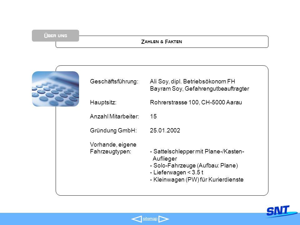 sitemap Zahlen & Fakten Über uns Geschäftsführung:Ali Soy, dipl.