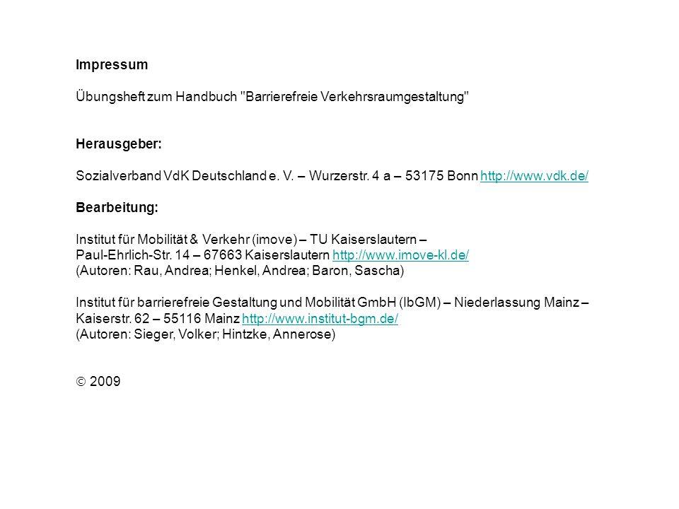 Impressum Übungsheft zum Handbuch