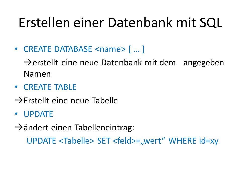 Erstellen einer Datenbank mit SQL CREATE DATABASE [ … ] erstellt eine neue Datenbank mit dem angegeben Namen CREATE TABLE Erstellt eine neue Tabelle U