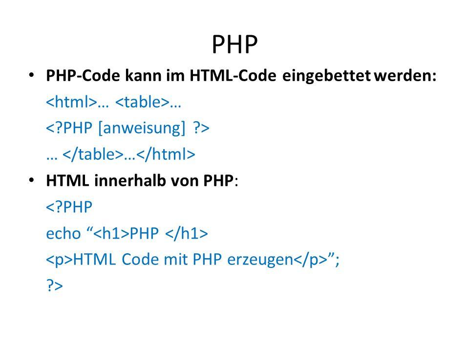PHP PHP-Code kann im HTML-Code eingebettet werden: … … … … HTML innerhalb von PHP: <?PHP echo PHP HTML Code mit PHP erzeugen ; ?>