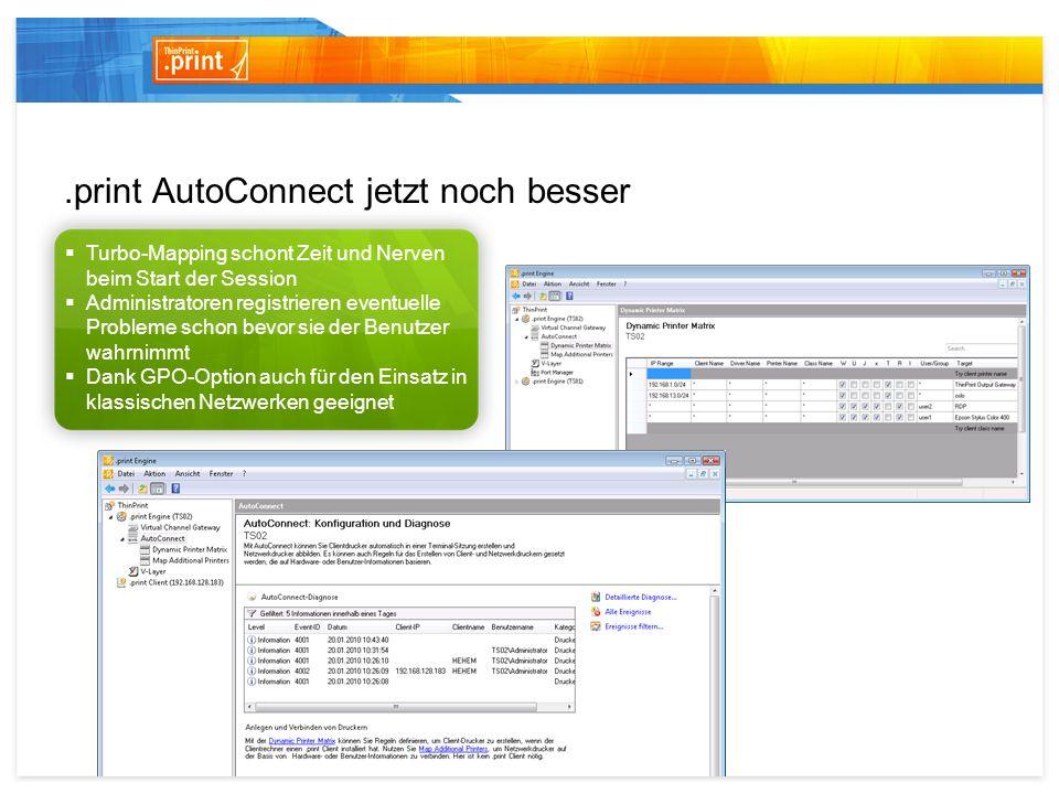ThinPrint Output Gateway Automatische Übertragung lokaler Druckoptionen Freie Konfiguration der Druckoptionen-Übernahme Druckereigenschaften-Dialog steht in 15 Sprachen zur Verfügung Nutzen Sie sofort und uneingeschränkt alle erweiterten Druckerfunktionalitäten Ihres lokalen Druckers