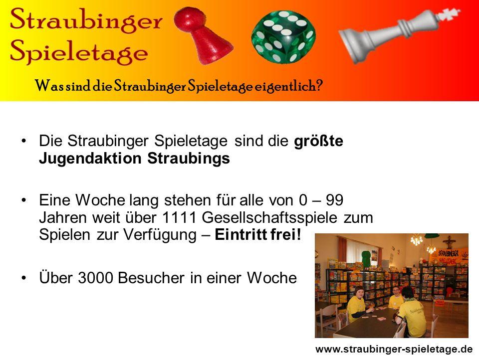 www.straubinger-spieletage.de Die Straubinger Spieletage sind die größte Jugendaktion Straubings Eine Woche lang stehen für alle von 0 – 99 Jahren weit über 1111 Gesellschaftsspiele zum Spielen zur Verfügung – Eintritt frei.