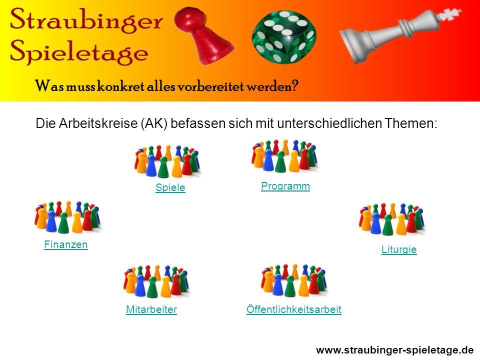 Die Arbeitskreise (AK) befassen sich mit unterschiedlichen Themen: Finanzen Spiele Mitarbeiter Programm Öffentlichkeitsarbeit www.straubinger-spieletage.de Was muss konkret alles vorbereitet werden.