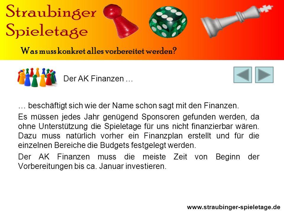 Der AK Finanzen … www.straubinger-spieletage.de Was muss konkret alles vorbereitet werden.