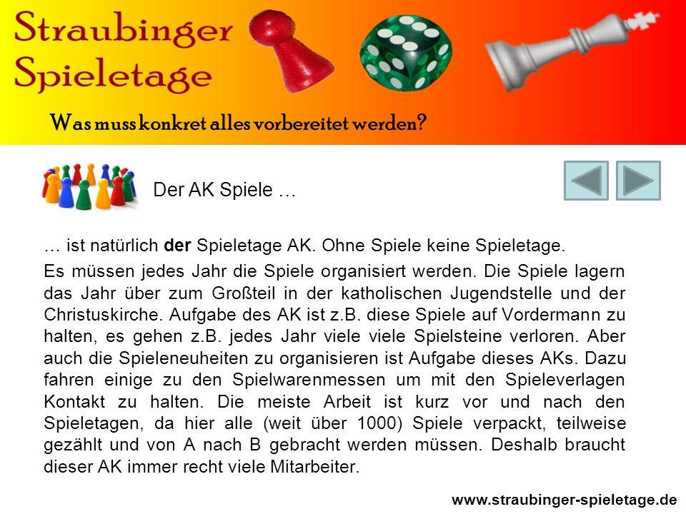 Der AK Spiele … www.straubinger-spieletage.de Was muss konkret alles vorbereitet werden.
