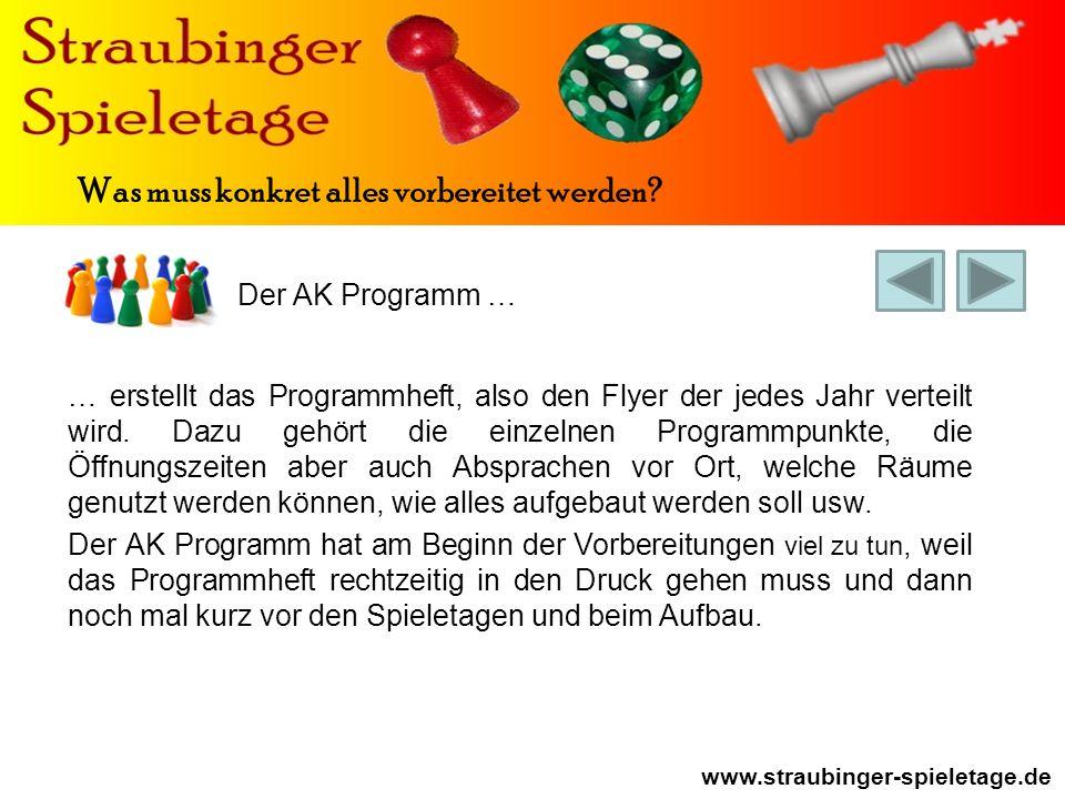 Der AK Programm … www.straubinger-spieletage.de Was muss konkret alles vorbereitet werden.