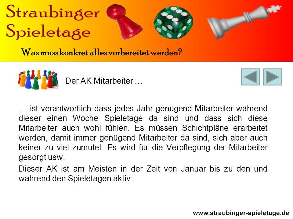 Der AK Mitarbeiter … www.straubinger-spieletage.de Was muss konkret alles vorbereitet werden.