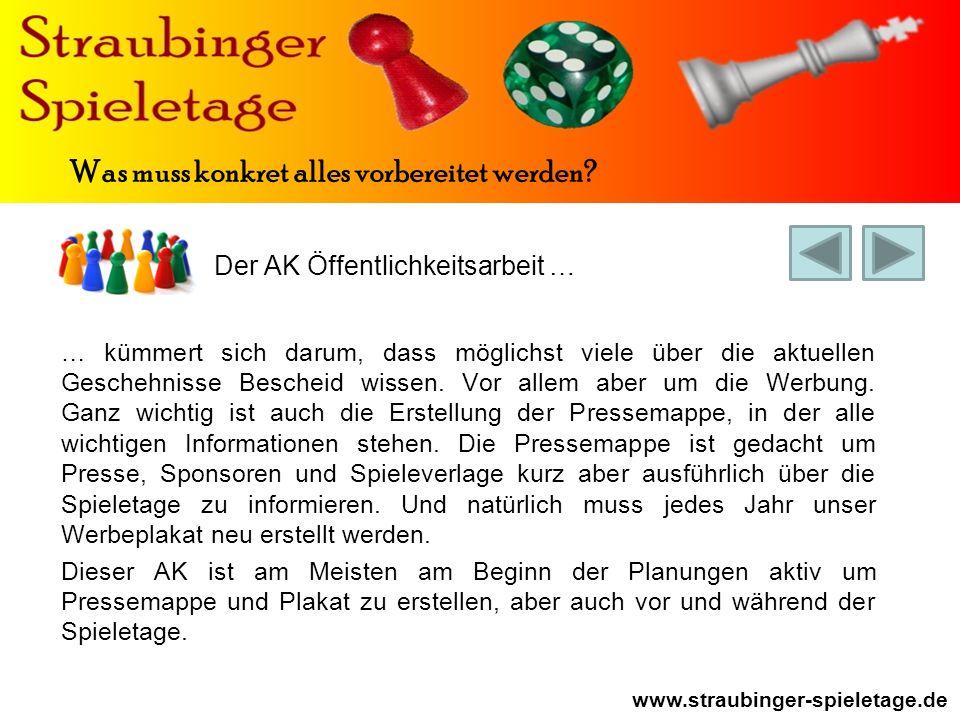 Der AK Öffentlichkeitsarbeit … www.straubinger-spieletage.de Was muss konkret alles vorbereitet werden.