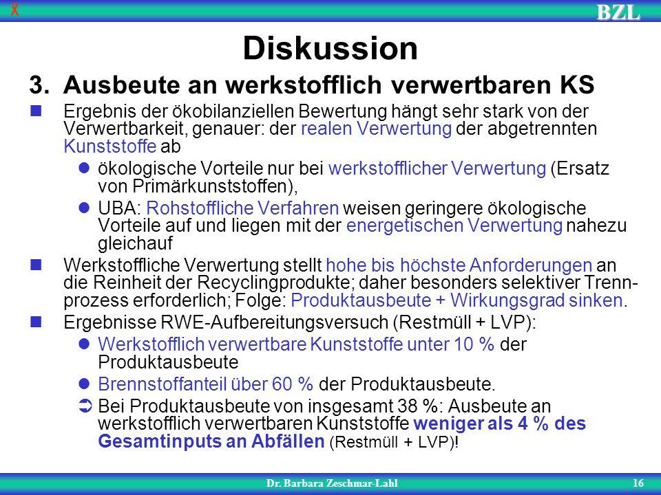 BZL 16 Diskussion Dr. Barbara Zeschmar-Lahl 3.Ausbeute an werkstofflich verwertbaren KS Ergebnis der ökobilanziellen Bewertung hängt sehr stark von de