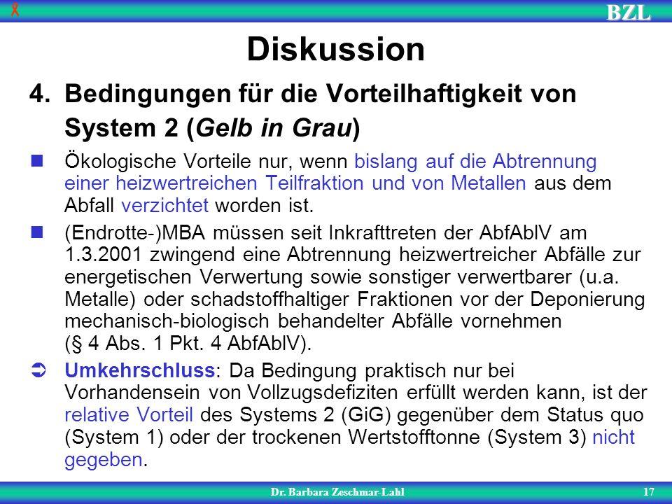 BZL 17 Diskussion Dr. Barbara Zeschmar-Lahl 4.Bedingungen für die Vorteilhaftigkeit von System 2 (Gelb in Grau) Ökologische Vorteile nur, wenn bislang