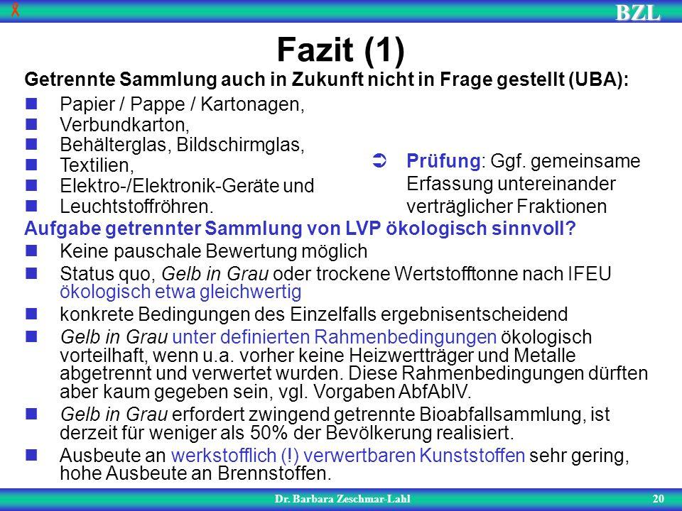 BZL 20 Fazit (1) Dr. Barbara Zeschmar-Lahl Aufgabe getrennter Sammlung von LVP ökologisch sinnvoll? Keine pauschale Bewertung möglich Status quo, Gelb