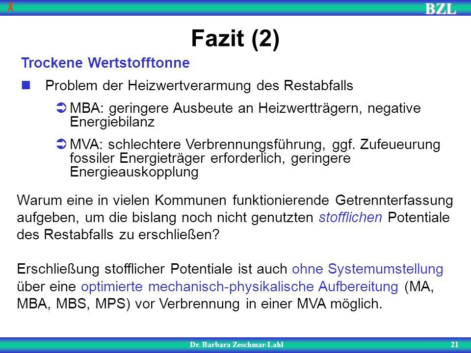BZL 21 Fazit (2) Dr. Barbara Zeschmar-Lahl Trockene Wertstofftonne Problem der Heizwertverarmung des Restabfalls MBA: geringere Ausbeute an Heizwerttr