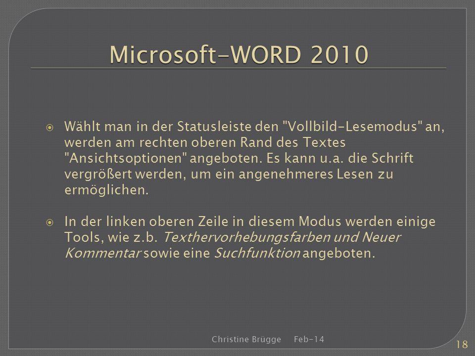Microsoft-WORD 2010 Wählt man in der Statusleiste den