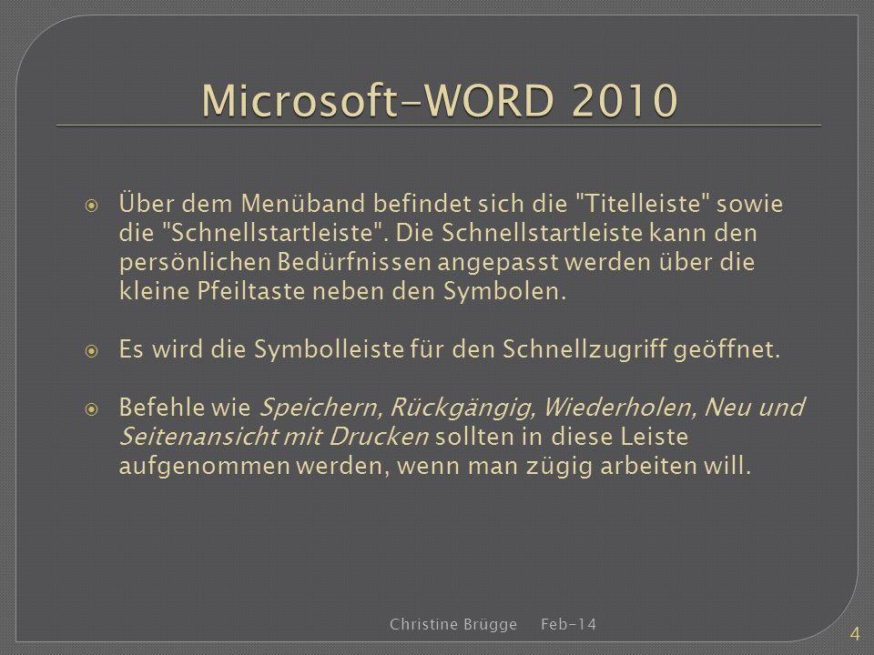 Microsoft-WORD 2010 Über dem Menüband befindet sich die