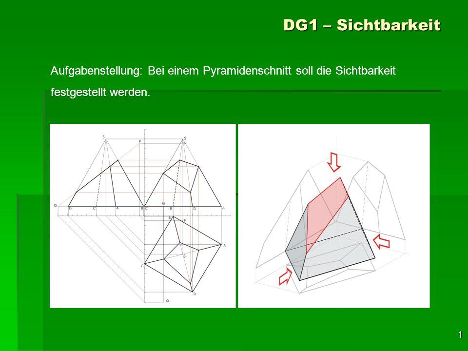 22 DG1 – Sichtbarkeit Nun werden noch alle bis- her als sicher sichtbar erkannten Seitenkanten des Restkörpers einge- zeichnet und jetzt können auch die restlichen Umriss- kanten stark gezeichnet werden.
