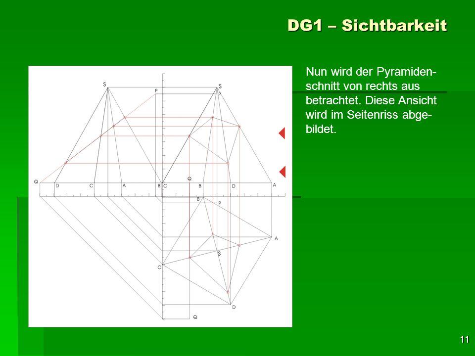 11 DG1 – Sichtbarkeit Nun wird der Pyramiden- schnitt von rechts aus betrachtet. Diese Ansicht wird im Seitenriss abge- bildet.