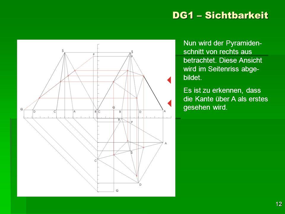 12 DG1 – Sichtbarkeit Nun wird der Pyramiden- schnitt von rechts aus betrachtet. Diese Ansicht wird im Seitenriss abge- bildet. Es ist zu erkennen, da