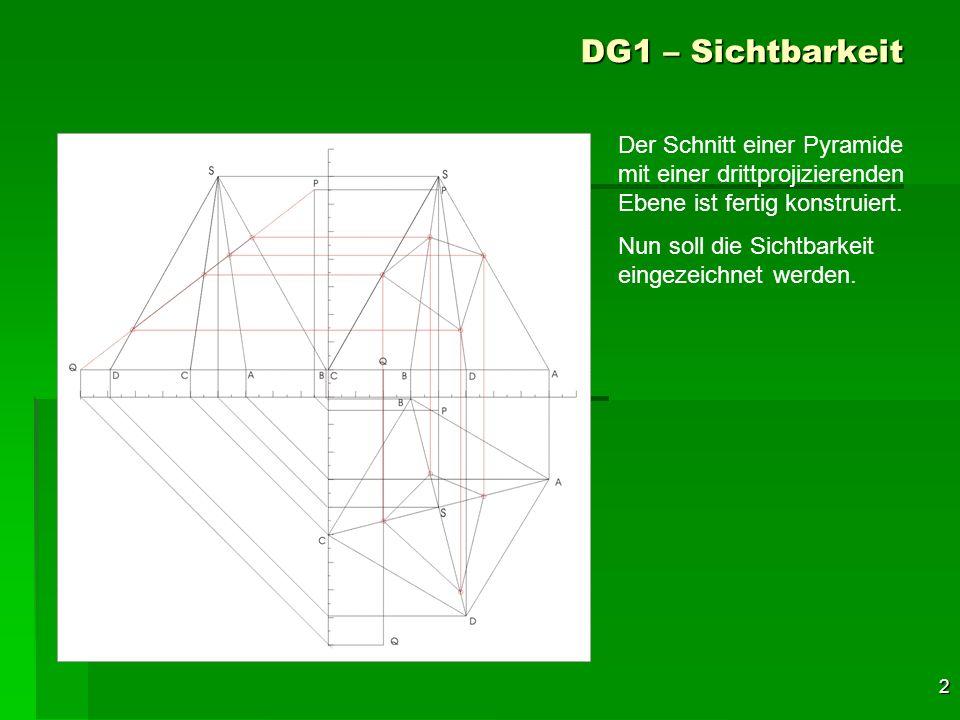 2 DG1 – Sichtbarkeit Der Schnitt einer Pyramide mit einer drittprojizierenden Ebene ist fertig konstruiert. Nun soll die Sichtbarkeit eingezeichnet we