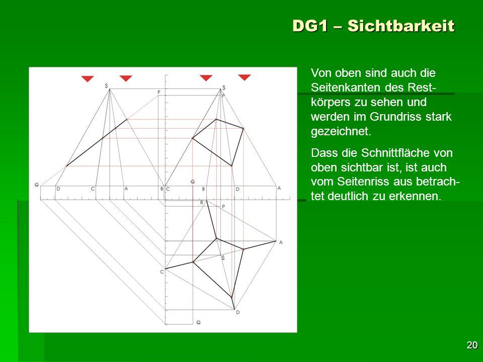 20 DG1 – Sichtbarkeit Von oben sind auch die Seitenkanten des Rest- körpers zu sehen und werden im Grundriss stark gezeichnet. Dass die Schnittfläche