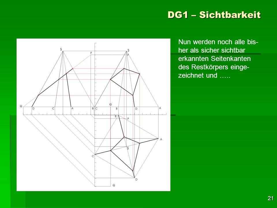 21 DG1 – Sichtbarkeit Nun werden noch alle bis- her als sicher sichtbar erkannten Seitenkanten des Restkörpers einge- zeichnet und …..