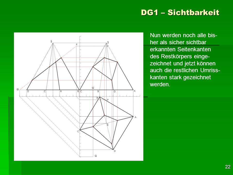 22 DG1 – Sichtbarkeit Nun werden noch alle bis- her als sicher sichtbar erkannten Seitenkanten des Restkörpers einge- zeichnet und jetzt können auch d