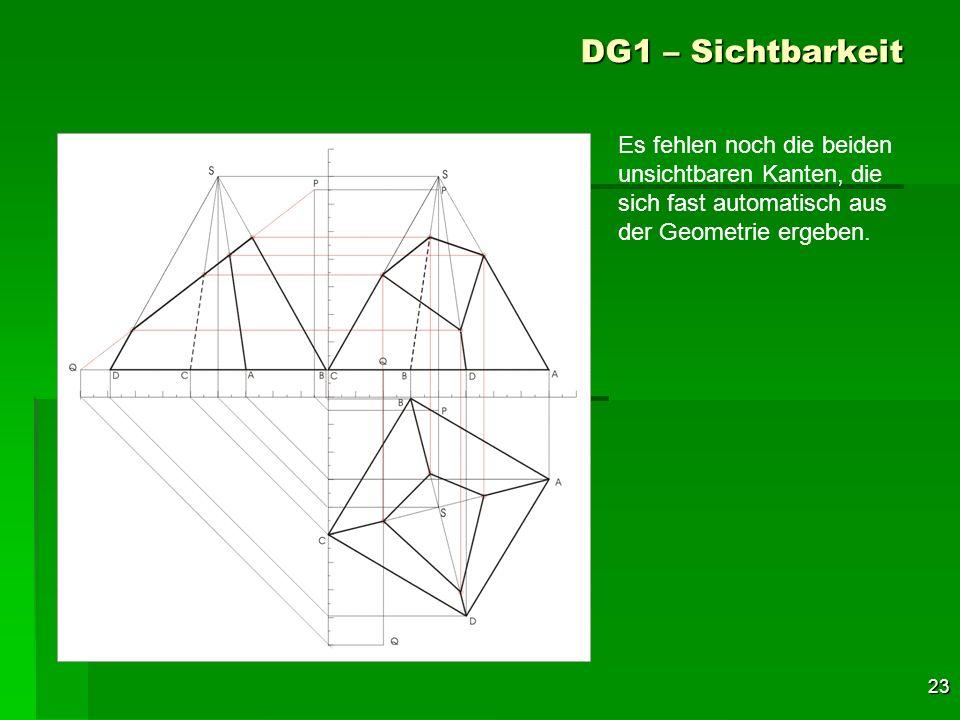 23 DG1 – Sichtbarkeit Es fehlen noch die beiden unsichtbaren Kanten, die sich fast automatisch aus der Geometrie ergeben.
