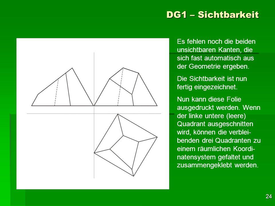 24 DG1 – Sichtbarkeit Es fehlen noch die beiden unsichtbaren Kanten, die sich fast automatisch aus der Geometrie ergeben. Die Sichtbarkeit ist nun fer