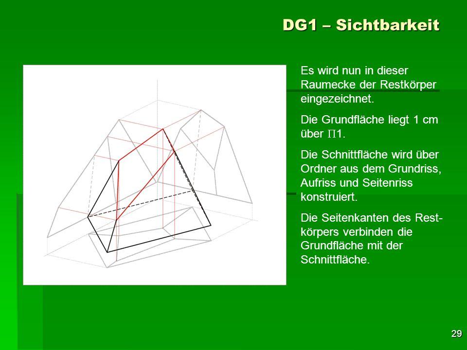 29 DG1 – Sichtbarkeit Es wird nun in dieser Raumecke der Restkörper eingezeichnet. Die Grundfläche liegt 1 cm über 1. Die Schnittfläche wird über Ordn