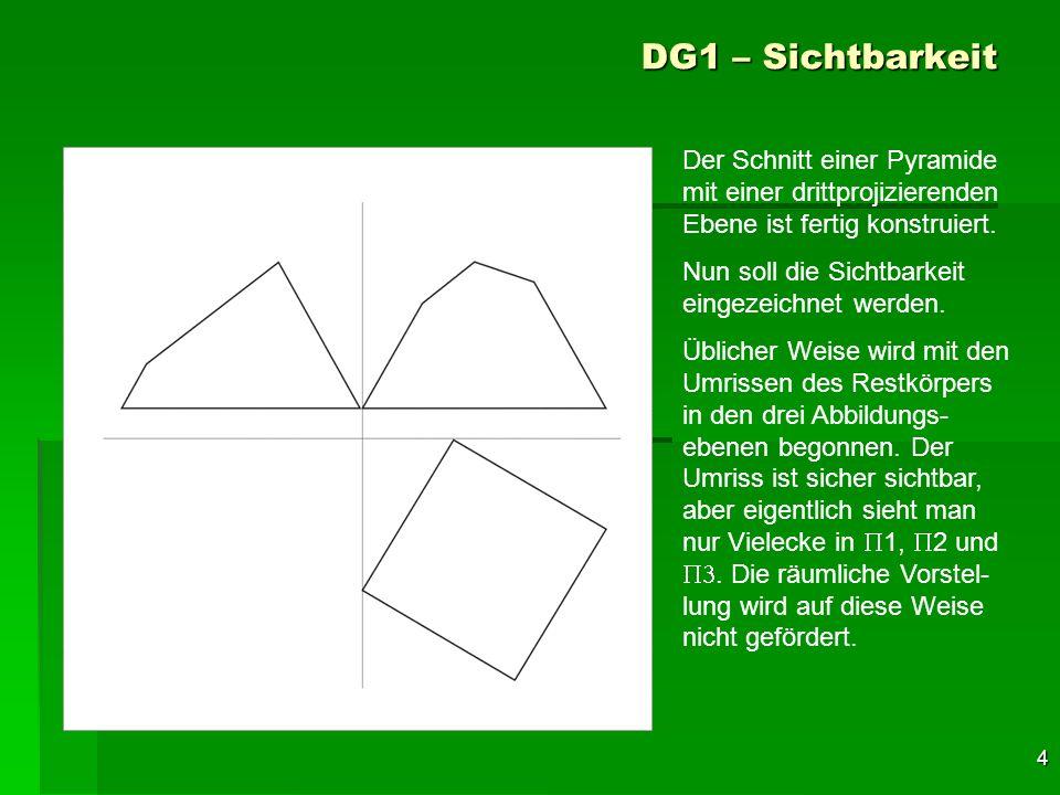 4 DG1 – Sichtbarkeit Der Schnitt einer Pyramide mit einer drittprojizierenden Ebene ist fertig konstruiert. Nun soll die Sichtbarkeit eingezeichnet we