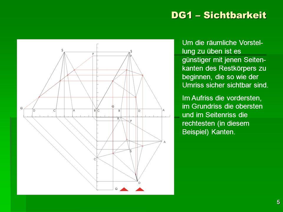 5 DG1 – Sichtbarkeit Um die räumliche Vorstel- lung zu üben ist es günstiger mit jenen Seiten- kanten des Restkörpers zu beginnen, die so wie der Umri