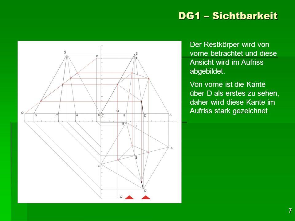 7 DG1 – Sichtbarkeit Der Restkörper wird von vorne betrachtet und diese Ansicht wird im Aufriss abgebildet. Von vorne ist die Kante über D als erstes