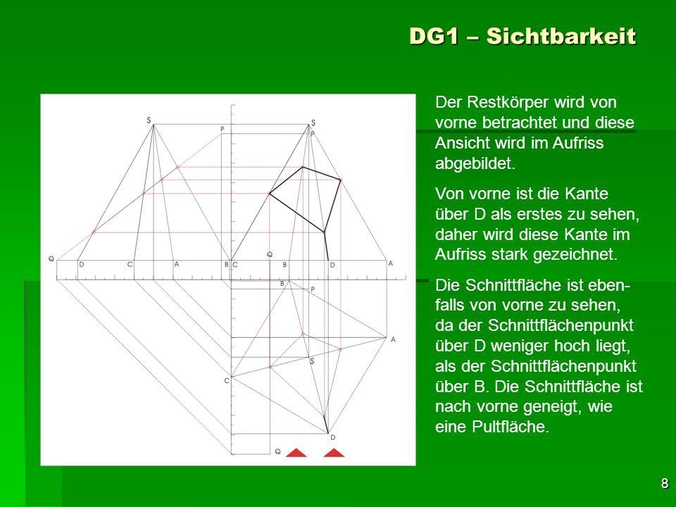 8 DG1 – Sichtbarkeit Der Restkörper wird von vorne betrachtet und diese Ansicht wird im Aufriss abgebildet. Von vorne ist die Kante über D als erstes